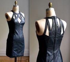 Stunning 90s Black Leather Dress via Etsy.