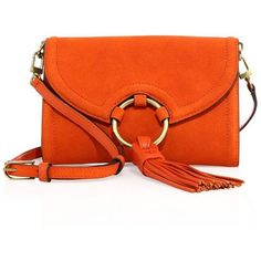 Tory Burch Tassel Suede Crossbody Bag (26,000 INR) ❤ liked on Polyvore featuring bags, handbags, shoulder bags, purses, apparel & accessories, pure orange, tory burch handbags, cross-body handbag, crossbody purse and suede shoulder bag