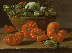 """Still Life With Tomatoes, A Bowl Of Aubergines And Onions""  ... by  Luis Melendez.  18th Century"