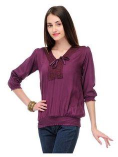 Shop Sukuma Solid Viscose Top - Purple online. Compare price