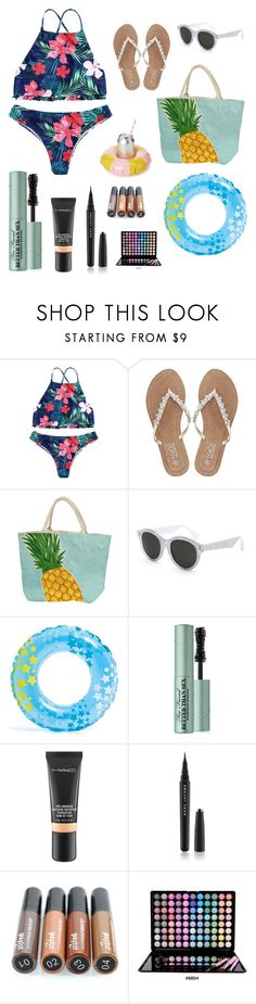 """Pool Outfit w/ Waterproof Makeup"" by jarmar1937 ❤ liked on Polyvore featuring interior, interiors, interior design, home, home decor, interior decorating, M&Co, RetroSuperFuture, Sunnylife and Too Faced Cosmetics"
