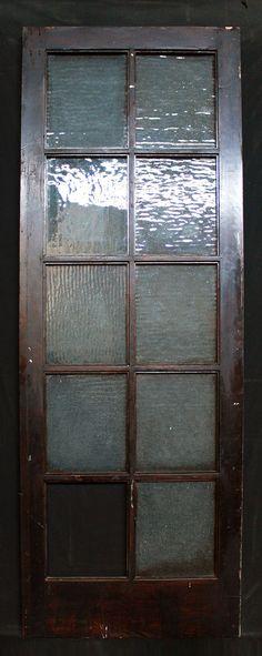 "30""x 83"" Antique Arts Crafts Interior Exterior French Door Textured Glass Lites"