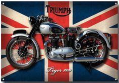 TRIUMPH TIGER 100 MOTORCYCLE METAL SIGN.(A3) SIZE,VINTAGE TRIUMPH MOTORCYCLES.