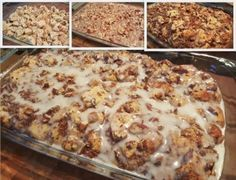 Cinnamon Roll French Toast 1/4 cup Butter, melted 2 cans (12.4 oz each) Pillsbury refrigerated cinnamon rolls with icing  6 Eggs 1/2 cup half and half 2 teaspoons ground cinnamon 2 teaspoons vanilla 1 cup Chopped Pecans 1 cup maple syrup