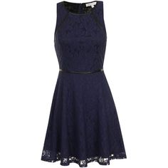 Navy Lace Skater Dress With Black PU Trim ($16) ❤ liked on Polyvore