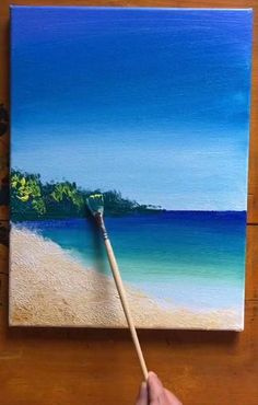 Drawing by , douyin , id = Jaop Simple Canvas Paintings, Easy Canvas Art, Small Canvas Art, Sea Paintings, Amazing Paintings, Easy Art, Canvas Painting Tutorials, Acrylic Painting Canvas, Art Painting Gallery