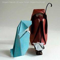 nacimiento de pesebre de navidad con origami