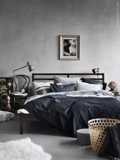 Dark masculine bedroom | IKEA-based bedroom inspiration: #currentlycoveting #holidays2015 #holidaze #holidaystyle