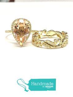Pear Morganite Engagement Ring Bridal Set Pave Diamond Wedding 14K Yellow Gold 10x12mm from the Lord of Gem Rings https://www.amazon.com/dp/B01GY5JKHS/ref=hnd_sw_r_pi_dp_PuuGxbHPYMJ87 #handmadeatamazon