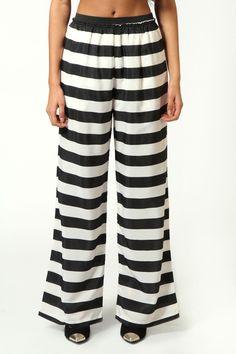 Veronica Monochrome Striped Leg Trousers £20 >> http://www.boohoo.com/restofworld/clothing/new-in/icat/newin/trousers/veronica-monochrome-striped-leg-trousers/invt/azz57296