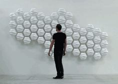 responsive hexi wall fluctuates based on nearby movements