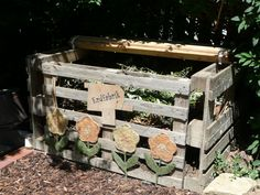 Homemade compost bin from wooden pallets.