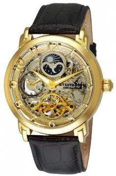 b83a3f1002b Stuhrling Original 165XL.333531 Winchester Revolution Gold Tone Automatic  Skeleton Watch For Men Look Masculinos