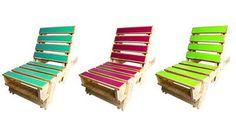 Pallet deck chairs. Fun colors!