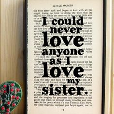 Little Women gift for sisters quote on Vintage Book by BookishlyUK