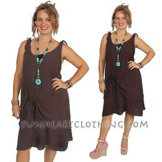 SunHeart ruch Brown Top or Dress one size fits by SUNHEARTCLOTHING