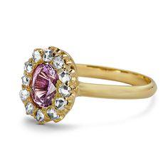 Bella - Ladies Antique Pink Sapphire & Rose Cut Diamond Ring
