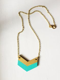 This cool and modern chevron necklace is a great gift for a friend...or for yourself!  ♥ This lightweight wood chevron pendant is laser cut and
