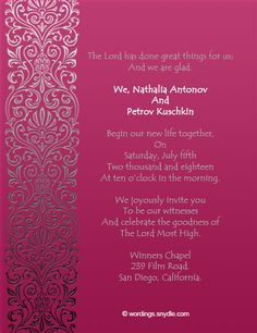 Christian Wedding Invitation Wording Samples Wordings And Messages Message
