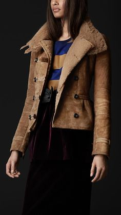 Sueded Shearling Military Jacket | Burberry