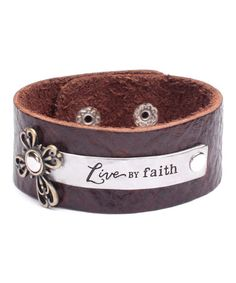 Look at this #zulilyfind! Mocha & Two-Tone 'Live by Faith' Leather Bracelet by Alexa's Angels #zulilyfinds