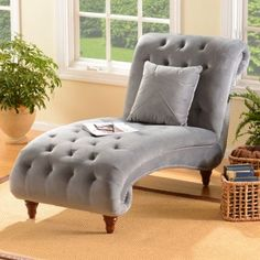 I need this in my bedroom; perfect for reading a book! Tufted Velvet Chaise Lounger | Kirkland's