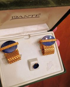 Vintage DANTE Genuine Sodalite Mesh Cufflinks and Tie Clip Set on Etsy, $55.00
