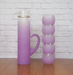 Lavender Blendo Cocktail Set / Pitcher and Five Roly Poly Glasses / Retro Midcentury Barware