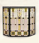 Antique Brass Fireplace Screen With Art Glass from Furniture On The Web