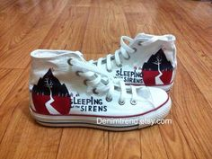 Sleeping With Sirens Shoes, hand painted custom converse