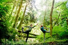 Cute couples yoga pose in Forest Park | Stunning Portland Engagement Session Mixes Urban & Forest Locations | orbridemag.com | Photo: MoscaStudio