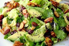 Cranberry- Avocado Salad with candied spiced almonds and sweet white balsamic vinaigrette