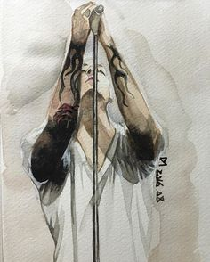 Very Awesome watercolor painting, of Chester Bennington! kslp