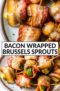 Easy and crowd-pleasing Bacon Wrapped Brussels Sprouts make the perfect party appetizer! They're coated in a maple and balsamic glaze that's truly addictive. Great for side dishes too. #wellplatedrecipes #baconwrapped #partyappetizers Bacon Wrapped Brussel Sprouts, Bacon Wrapped Asparagus, Sprouts With Bacon, Brussels Sprouts, Side Dishes For Chicken, Veggie Side Dishes, Healthy Side Dishes, Healthy Vegetable Recipes, Sprout Recipes