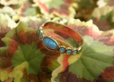 Blue Opal  Gold Rings  14k Yellow Gold plated by ToledoJewelry