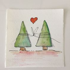 Simple but cute ! Simple but cute ! Watercolor Christmas Cards, Christmas Drawing, Diy Christmas Cards, Christmas Paintings, Watercolor Cards, Xmas Cards, Simple Christmas, Christmas Art, Christmas Wreaths