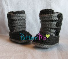 Crochet Baby Boot Pattern Strappy Ugg Inspired by PatternMa, $5.00