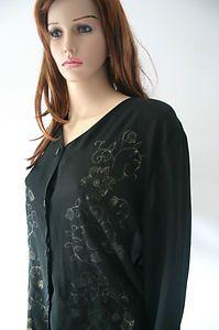 Vintage Black Sheer Blouse With Gold Floral Panelling   eBay