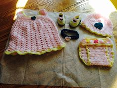 Baby girl diaper cover dress booties hat & headband