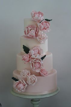 Pink Peony Wedding Cake -