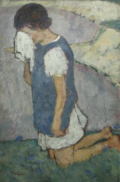 """""""Crying Girl"""" by Nicholas Tonitza, oil History Page, Art History, Crying Girl, Post Impressionism, Artist Painting, Monet, Portrait, Drawings, Paintings"""