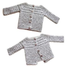 Crochet Pattern: Cozy Baby Cardigan Sweater (5 Sizes)