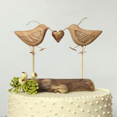 Natural Wood Wedding Cake Topper Love Birds by WoodenHeartButtons