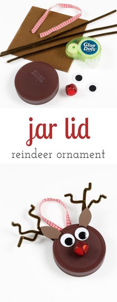 Kids of all ages will enjoy using old jar lids to create upcycled festive Reindeer Ornaments. The perfect Christmas craft for kids! via @HTTP://www.pinterest.com/fireflymudpie/