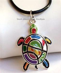 Silver Sea Turtle Necklace Multicolor Enamel Sea Life Beach Adjustable USASeller #SouthMiamiBeachBoutique #turtlelovers #seaturtles #sealife #turtlejewelry
