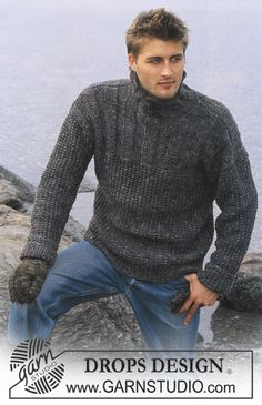 DROPS Pullover in Karisma Superwash and Fabel and Gloves in Karisma Free pattern by DROPS Design. Drops Design, All Free Knitting, Sweater Knitting Patterns, Knit Fashion, Grey Sweater, Sweaters, Free Pattern, Gloves, Knits