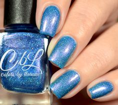CbL The Journey Collection 2016 - Family is a medium blue base with scattered holo and pink shimmer. Swatch by @shannasnailadventures on Instagram.