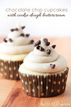 Chocolate chip cupcakes with cookie dough buttercream. The cupcakes are light and moist, with chocolate chips sprinkled evenly throughout, and the frosting tastes just like cookie dough!
