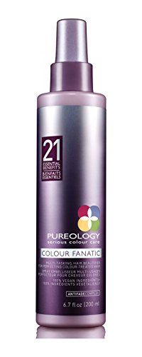 Give your hair 21 benefits instantly with Pureology Colour Fanatic multi-benefit hair treatment spray. Perfect for color treated hair, this spray locks in and protects color from UV fade while conditioning and de-tangling even the most stubborn hair. Leave In Conditioner, Hair Conditioner, Hair Care Routine, Hair Care Tips, Hair Tinsel, Fine Curly Hair, Brittle Hair, Protective Hairstyles, Natural Hair Care