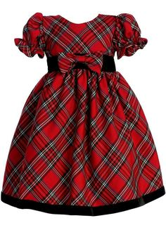 Beautiful classic red plaid tartan toddler christmas dress features short puff sleeves and black velvet trim. Red plaid bow at waist. Baby Girl Holiday Dresses, Toddler Christmas Dress, Girls Christmas Dresses, Little Girl Dresses, Holiday Outfits, Girls Dresses, Christmas Baby, Plaid Christmas, Long Dresses